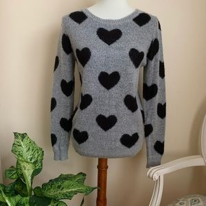 Forever 21 Gray Scoop Neck Hearts Sweater